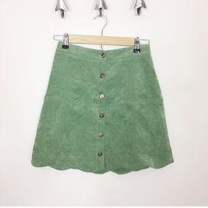 Boohoo Button Down front scallop mini skirt